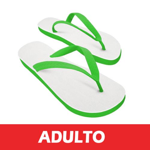 Chinelo Verde/Tecido Branco