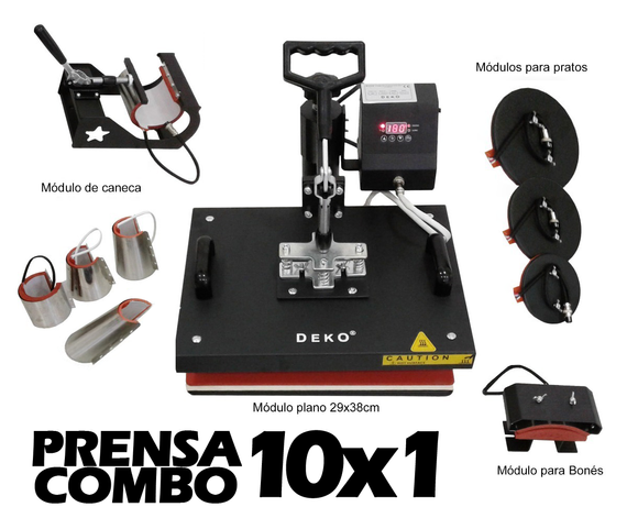 Combo Prensa Térmica Digital 10 x 1 29x38cm -LANÇAMENTO EXCLUSIVO PAMPA TECH