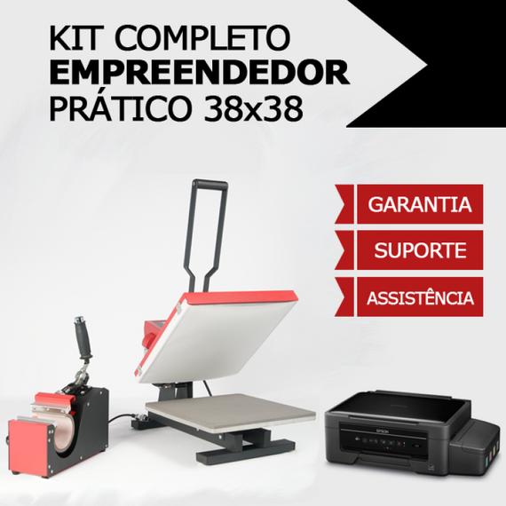 KIT COMPLETO EMPREENDEDOR PRÁTICO - Prensa Térmica Plana - 38x38cm - 2x1 plana + caneca cilíndrica linha premium + impressora sublimática A4