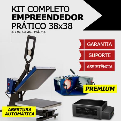 Kit empreendedor prático - Prensa Térmica Plana - Base 38x38 Abertura automática + Prensa de canecas cilíndrica + Impressora sublimática A4