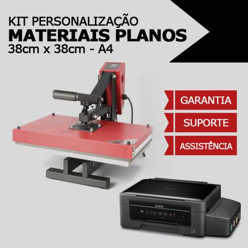Kit Personalização de Materiais Planos A4 - Prensa Plana 38x38 + Impressora Sublimática