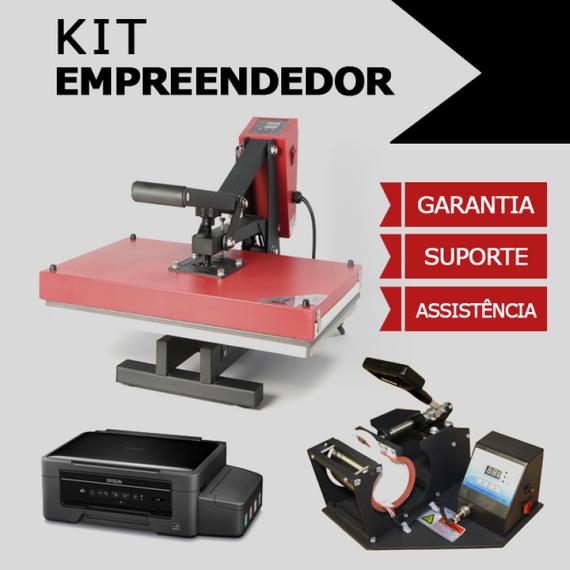 Kit empreendedor- Prensa 38x38 + Prensa Cilíndrica + Impressora Sublimática + Brindes
