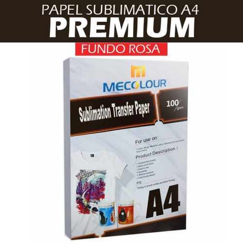 Papel Sublimático A4 para Transfer, 108gr - 100 folhas - FUNDO ROSA