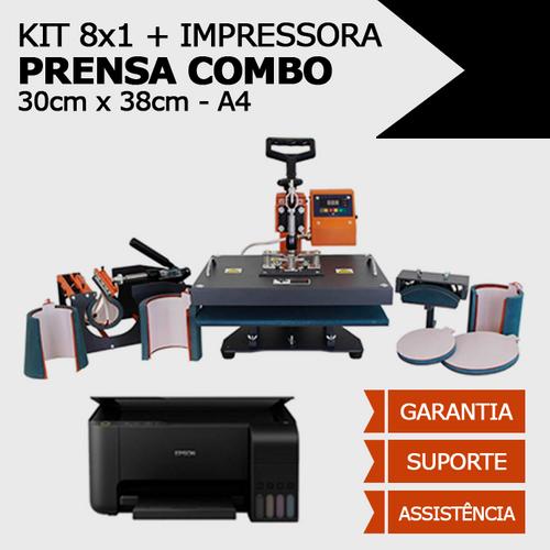 Prensa Combo 8x1 - 30x38 + Impressora adaptada p/ sublimação + CURSO*
