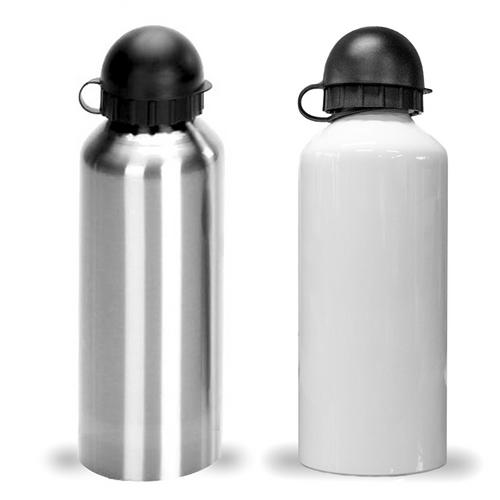 Squeeze de Alumínio com Tampa Redonda, 500mls - Branco e Prata