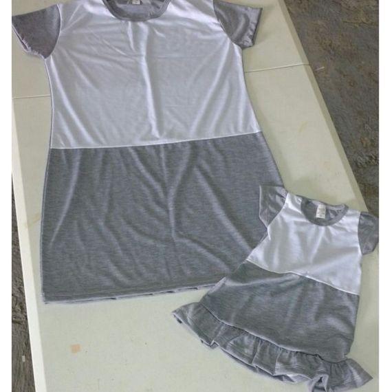Vestido tal mãe tal filha - Infantil - mescla (cinza + branco)