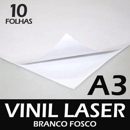 Vinil Adesivo laser branco fosco A3 - 10 folhas