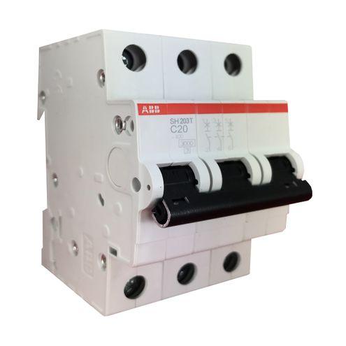 Minidisjuntor Tripolar - Curva C 20A - SH203 T-C20