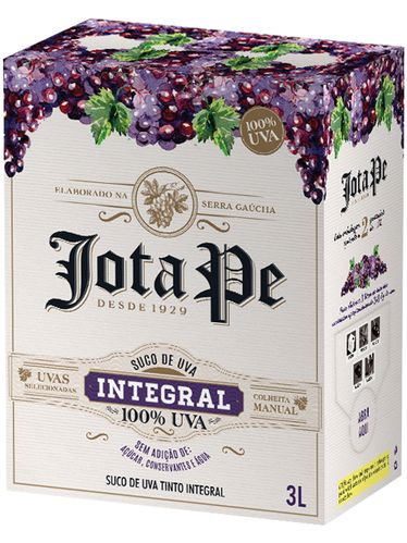 Jota Pe Suco de Uva Integral Tinto Bag in Box 3000 mL