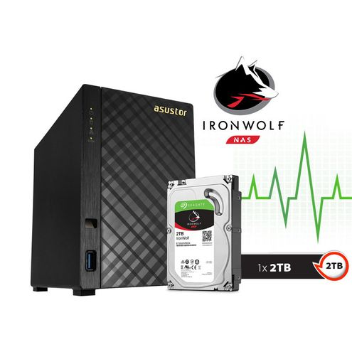 Backup nas com Disco Ironwolf Asustor As1002T2000 V2 Marvell Dual Core 1,6 Ghz 512Mb Ddr3 Torre 2 Tb