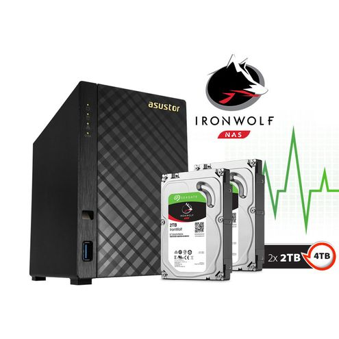 Backup nas com Disco Ironwolf Asustor As1002T4000 V2 Marvell Dual Core 1,6 Ghz 512Mb Ddr3 Torre 4Tb