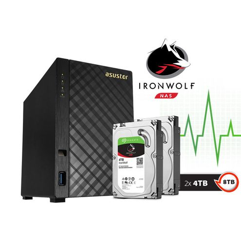 Backup nas com Disco Ironwolf Asustor As1002T8000 V2 Marvell Dual Core 1,6 Ghz 512Mb Ddr3 Torre 8Tb
