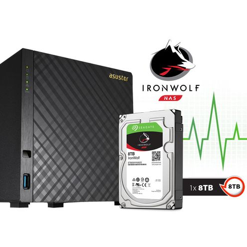 Backup nas com Disco Ironwolf Asustor As3104T8000 Intel Dual Core J3060 1,6Ghz 2Gb Ddr3 Torre 8 Tb
