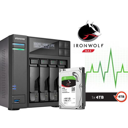 Backup nas com Disco Ironwolf Asustor As6204T4000 Intel Quad Core J3160 1,6Ghz 4Gb Ddr3 Torre 4Tb