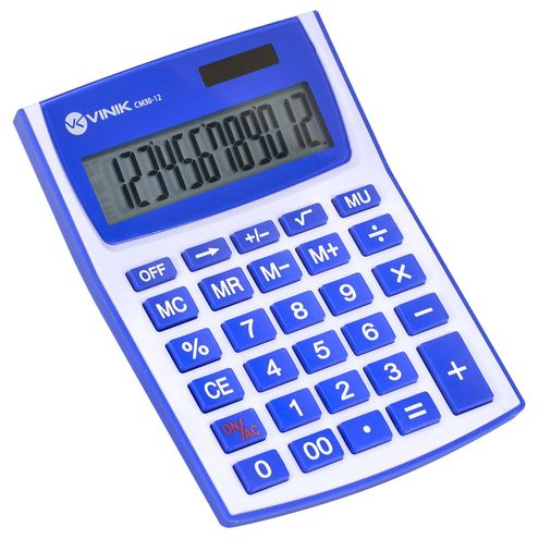 Calculadora de Mesa 12 Dígitos com Alimentação Solar Ou a Pilha - Cm30 Branca/azul
