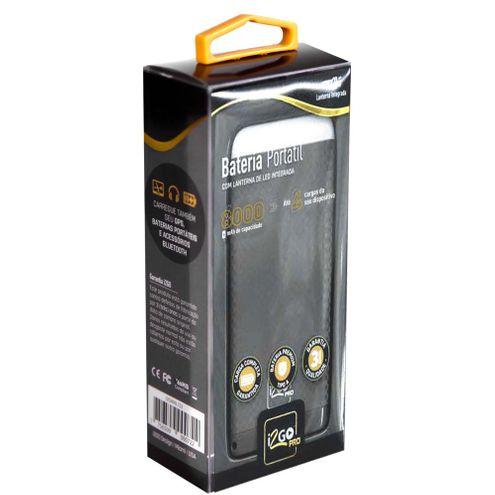 Carregador Bateria Portátil Pro 8000 I2Go 2Usb Led I2Gpck104