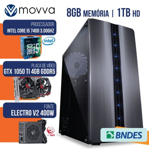 Computador Gamer Mvx5 Intel I5 7400 3.0Ghz Mem.8Gb Hd1Tb Hdmi Gtx1050Ti 4Gb Ddr5 128Bits Fonte400W