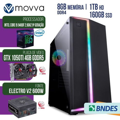 Computador Gamer Mvx5 Intel I5 9400F 2.9Ghz 9ªGer Mem8Gb Ssd160Gb Hd1Tbvgagtx1050Ti4Gbfonte600Wlinux