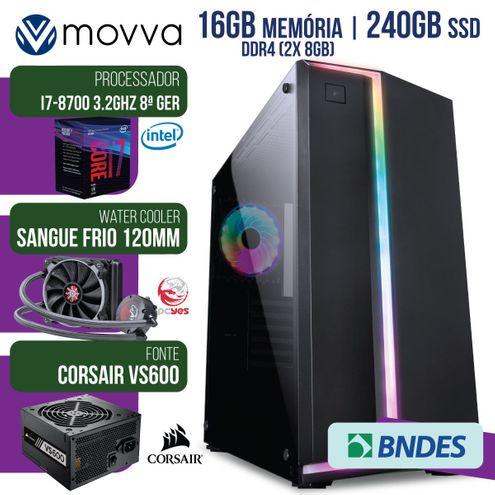 Computador Gamer Mvx7 Intel I7-8700 3.2Ghz Mem16Gb(2X 8Gb) Watercooler120Mm Ssd240Gb Fonte600W Linux