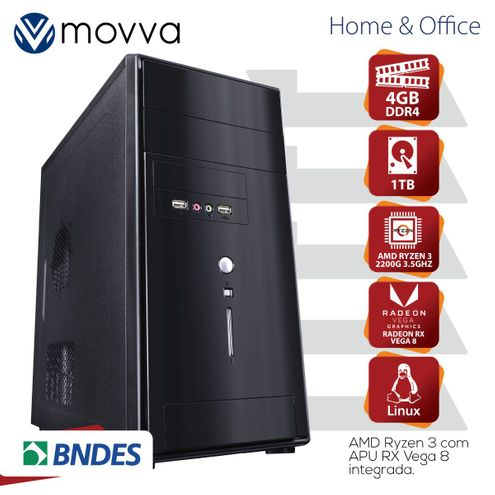 Computador Hydro Amd Ryzen3 Quadcore2200G 3.5Ghz Mem4Gb Hd1Tb Hdmi/vga Fonte200W Linux Gráfico Vega8