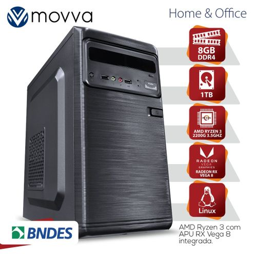 Computador Hydro Amdryzen 3Quadcore 2200G 3.5Ghz Mem8Gb Hd1Tb Hdmi/vga Fonte200W Linux Gráfico Vega8
