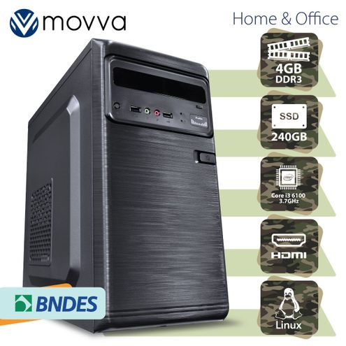 Computador Hydro Intel I3 6100 3.7Ghz 6ªGer Mem4Gb Ddr3 Ssd240Gb Hdmi/vga Fonte200W Linux