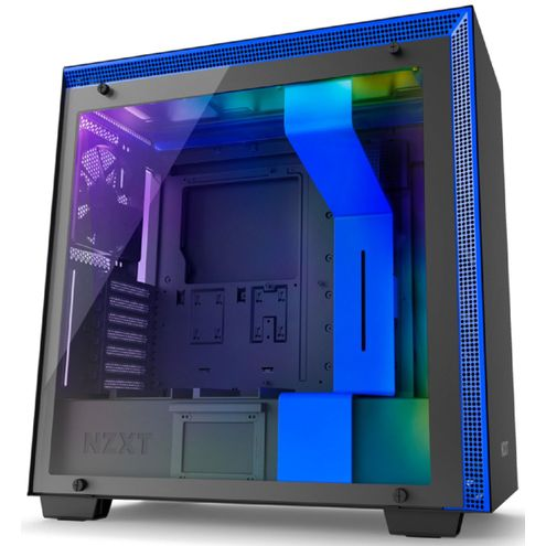 Gabinete H700I Matte Black/blue - Controle Rgb - Painel de Vidro Temperado - Gerenciamento de Cabos