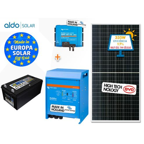 Gerador de Energia Victron Off Grid Aldo Solar Gef-Ogv3000120Pg 3000Va Saida 120V Autonomia 24 Horas