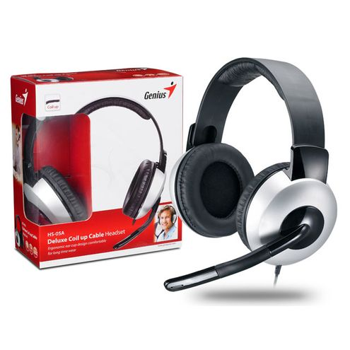 Headset Genius Hs-05A Headset Prata com Arco Ajustavel
