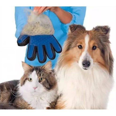 Luva Nano Magnética Tira pelos Pets Cães Gatos True Touch Azul