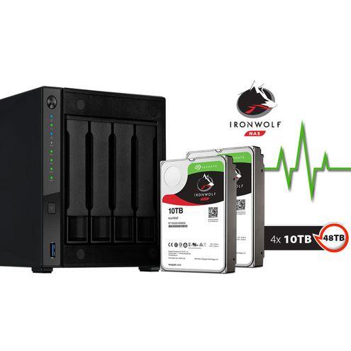 Nas Backup com Disco Integrado Asustor As4004T40000 Marvell 1,60Ghz 2Gb Ddr4 Torre 40Tb Hot-Swap