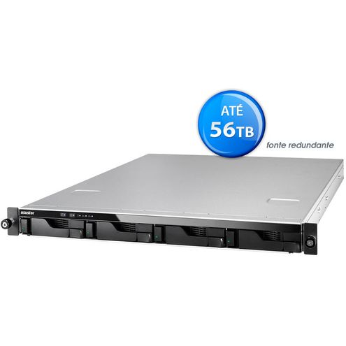 Nas Backup sem Disco Asustor As6204Rd Intel Quad Core J3160 1,6Ghz 4Gb Ddr3 Rack 1U 4 Baias Hot-Swap