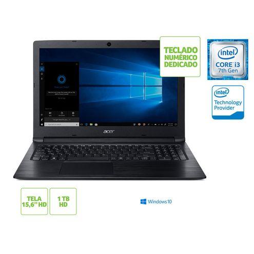 Notebook Acer A315-53-333H I3 7020U 4Gb 1Tb Windows 10 15.6 Hd Preto