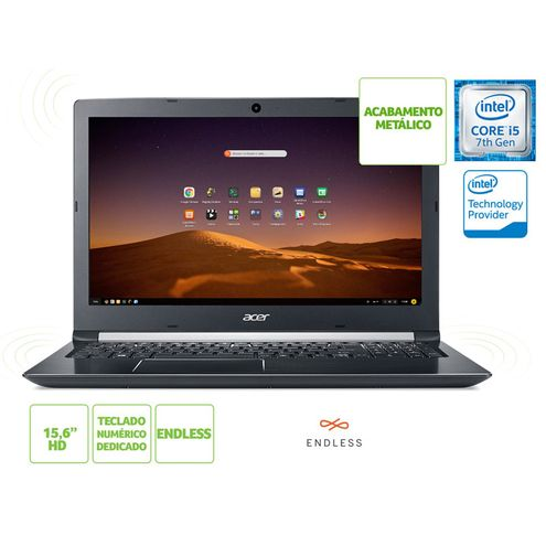 Notebook Intel c/ Tec Numerico Acer Nxgqbal011 A515-51-52M7 I5 7200U 4Gb 1Tb Linux 15.6 Cinza Preto
