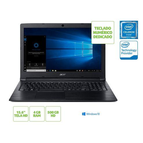 Notebook Intel c/ Tec Numerico Acer Nxhaaal001 A315-33-C39F Dualcoren3060 4Gb 500Gb Win10 15.6 Preto