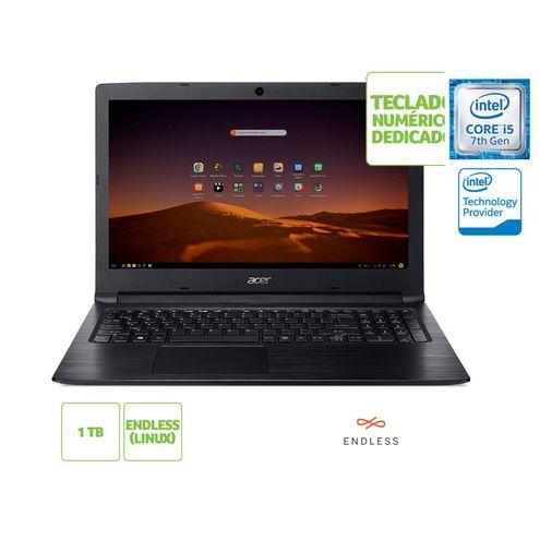 Notebook Intel c/ Teclado Numerico Acer Nxh3Nal007 A315-53-57G3 I5 7200U 8Gb 1Tb Linux 15.6 Hd Preto