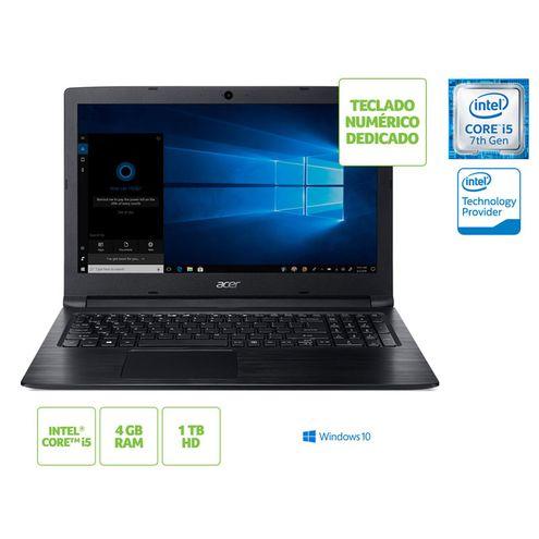 Notebook Intel c/ Teclado Numerico Acer Nxh3Nal008 A315-53-55Dd I5 7200U 4Gb 1Tb Win10 15.6 Hd Preto