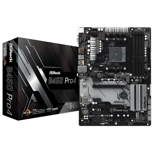 Placa Mãe Asrock B450 Pro4 / Am4 / Ddr4 / Hdmi/display Port/d-Sub/ Usb 3.1 /tipe-C / M.2 Duplo