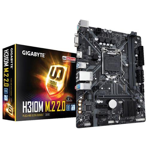 Placa Mae Lga 1151 Intel Gigabyte H310M 2.0 M-Atx Ddr4 2666Mhz M.2 Hdmi Usb 3.1