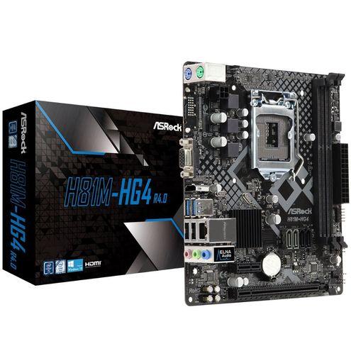 Placa-Mãe Micro Atx Asrock H81M-Hg4 R4 Intel Lga 1150 4ª Geração - Ddr3 Dual Channel- D-Sub/hdmi