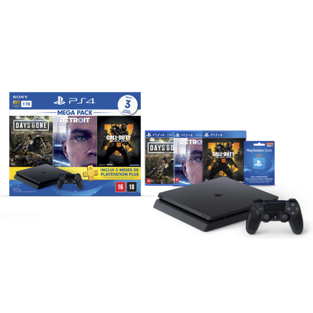 Playstation 4 Bundle Hits 1 Tb Days Gone, Detroit Become Human, Call Of Duty Black Ops 4+3M Psnplus