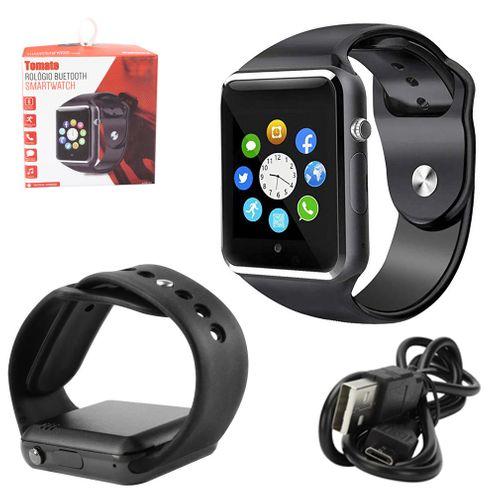 Relógio Swartwatch Bluetooth Android Ios Faz e Recebe Ligações - Preto - Tomate Mtr-03