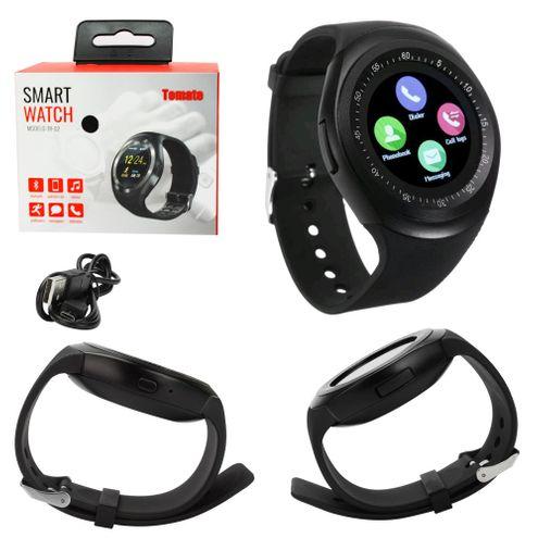 Relógio Smartwatch Conexao Bluetooth Android Ios Entrada para Micro-Sim - Preto - Tomate Tr02
