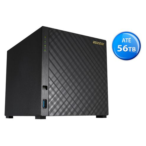Sistema de Backup nas Asustor As1004T V2 Marvell Dual Core 1,6 Ghz 512Mb Ddr3 Torre 04 Baias