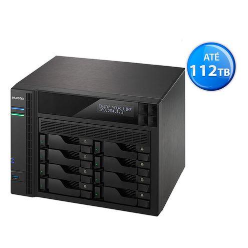 Sistema de Backup nas Asustor As6208T Intel Quad Core J3160 1,6Ghz 4Gb Ddr3 Torre 8 Baias Hot-Swap
