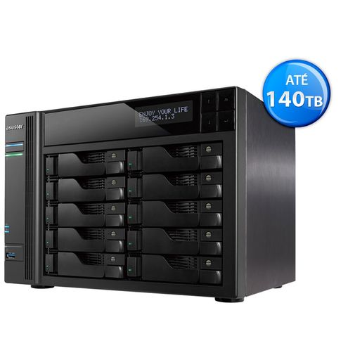 Sistema de Backup nas Asustor As6210T Intel Quad Core J3160 1,6Ghz 4Gb Ddr3 Torre 10 Baias Hot-Swap