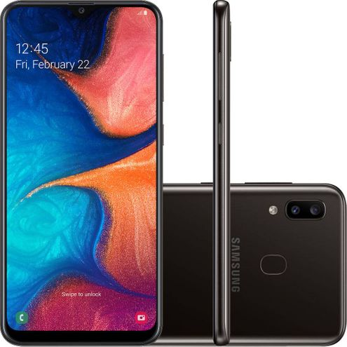 "Smartphone Samsung Galaxy A20 32Gb Dual Chip And9.0 Tela 6.4"" Octa-Core 4G Cam Dupla 13Mp+5Mp-Preto"