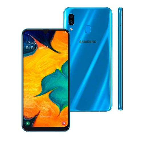 "Smartphone Samsung Galaxy A30 64Gb Azul 4G Tela 6.4"" Câmera Dupla 16Mp Selfie 16Mp Dual Chip"