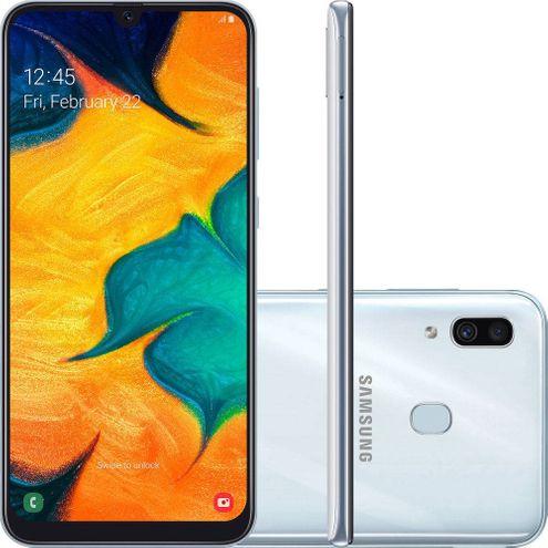 "Smartphone Samsung Galaxy A30 64Gb Branco 4G Tela 6.4"" Câmera Dupla 16Mp Selfie 16Mp Dual Chip"