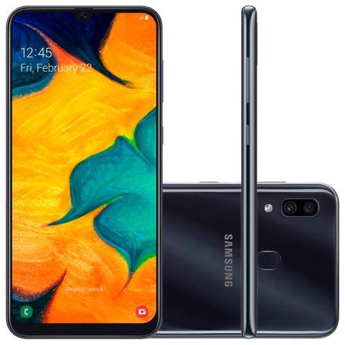 "Smartphone Samsung Galaxy A30 64Gb Preto 4G Tela 6.4"" Câmera Dupla 16Mp Selfie 16Mp Dual Chip"